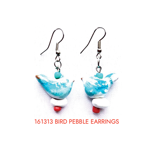 161313 bird pebble earrings